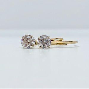 Solid 10k gold 5mm leverback CZ dangle earrings